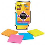Post-it® Super Sticky Full Adhesive Notes Pad 76 x 76 mm, Assorted Ultra Colours, Pack of 4, 100 Sheets (package 4 pads)